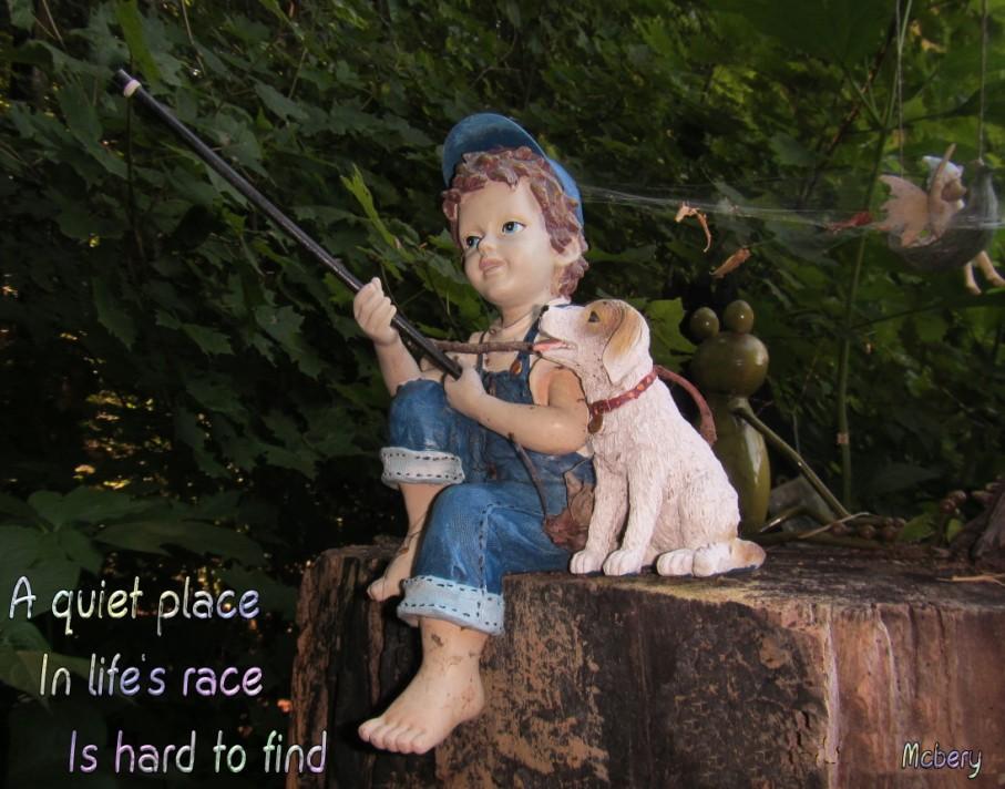 8 boy fishing woods e
